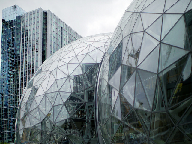 Amazon%27s+current+headquarters+%28pictured%29+in+Seattle+is+too+small+for+the+growing+company.
