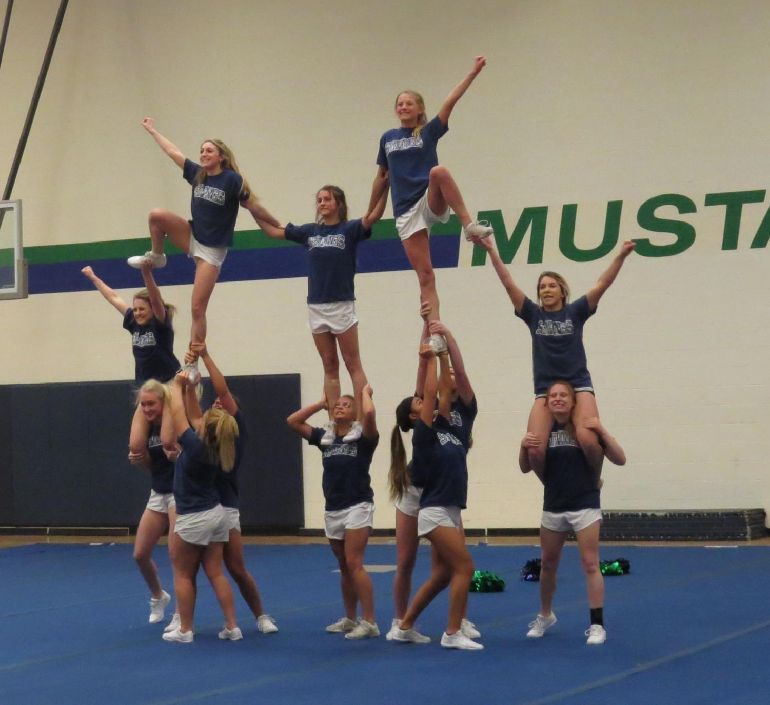Varsity cheerleaders practice their routine after school on Feb.  6.  They leave for Nationals on Feb. 8.