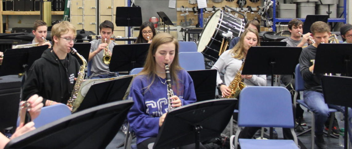 """Pep band students practice the song """"The Hey Song"""" by Gary Glitter and Mike Leander on Jan 21. Their first performance is during the boys home basketball game against Seckman on Feb. 9."""