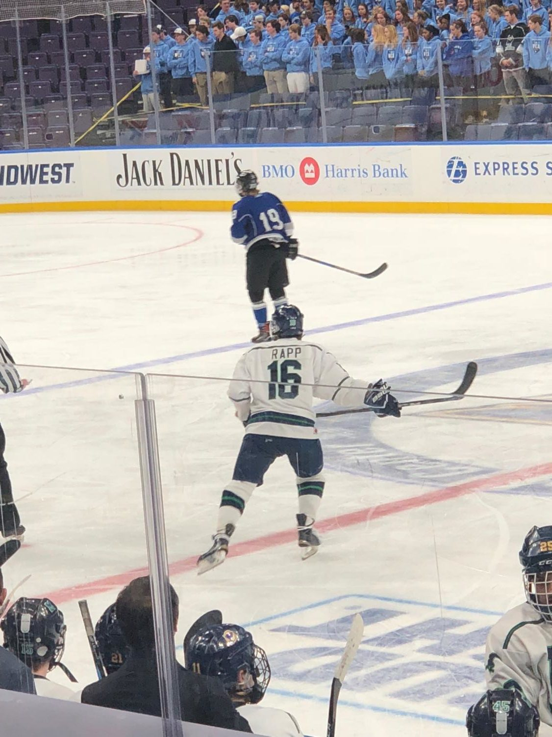 J. Rapp #16 skates down the Scottrade Center ice. Marquette Hockey lost the game 2-4 against Westminster.